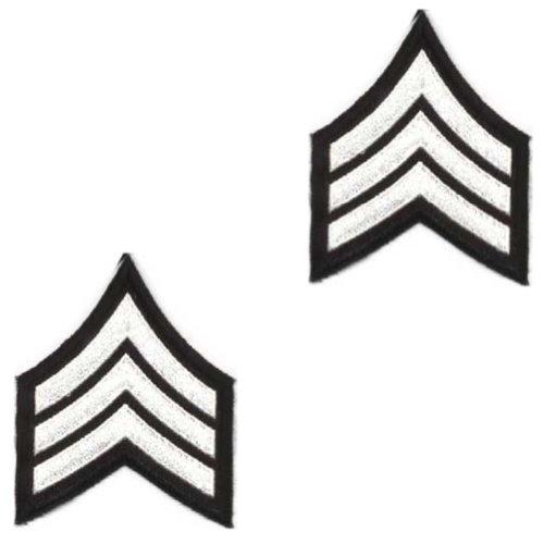 White Black Police Deputy Sheriff Military Sergeant Uniform Shirt Chevrons PAIR