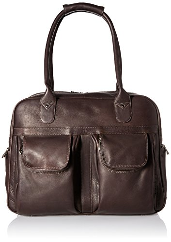 Piel Leather Multi-Pocket Satchel, Chocolate, One Size by Piel Leather
