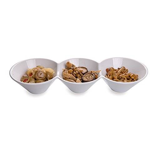 Porcelain Triple Bowl, Triplet Bowl, Bowl Set - Great for Snacks, Dips and More - White - 13.4 Inch 18 Ounce - 1ct Box - Restaurantware