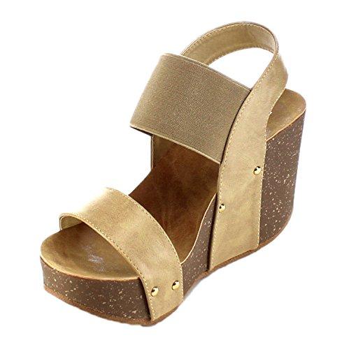 Chunky Cork Heels (Refresh Women's Mara-10 Platform Cork Wedge High Heel Sandal Taupe 6 B(M) US)