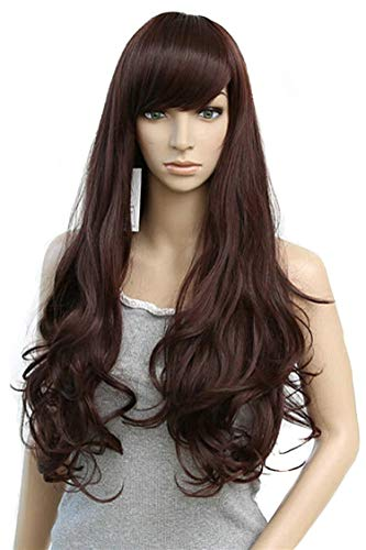 Tarzan And Jane Cosplay (Long Loose Wave Light Dark Brown Black 75Cm Women Wigs Cosplay Lady'S Heat Resistant Synthetic Full)