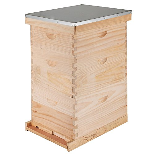 Happybuy Langstroth Beehive 3 Layer Langstroth Box 10 Frame Beehive Frames 2 Brood Boxes 1 Super Box Langstroth Beehive Kit