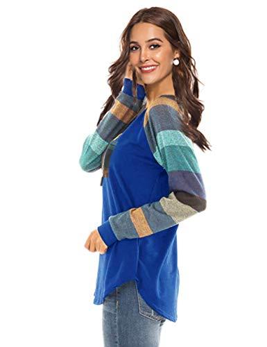 Rond Tops Feelingirl S Pull xxl Casual Longues Tunique Blouse Femme Haut Dentelle Col Manches Bleu Rayure Lâché Shirt wq50n5xAR