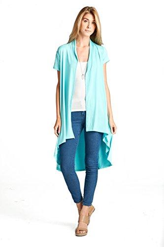 ReneeC. Women's Extra Soft Natural Bamboo Short Sleeve Cardigan - Made in USA (3X-Large, Aqua) (Aqua Cardigan)