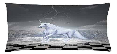 Unicorn Throw Pillow Cushion Cover by Lunarable, Digital Surreal Sea on Chessboard with a Unicorn Horse Galloping Myth Art Print, Decorative Square Accent Pillow Case, 36 X 16 Inches, Grey White