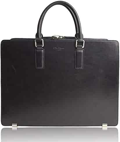 Dom Teporna Italy Full Grain Italian Leather Briefcase for Men Business Bag Designed in Japan