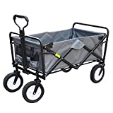Pull Cart Garden Trolley Utility Wagon Outdoor Shopping Cart Trolley Pull Truck Camper Foldable Steel Frame Oxford Cloth Seat Belt 2 Universal Wheel 4 Colors (Color : Gray)