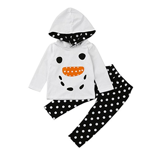 MITIY Kids Clothes Winter Clothes OutfitsMITIY Cotton Baby Boy Girl Dot Print Pullover Hoodie Tops+Pants OutfitsToddler1Y-4Y (White, 4T)