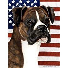 Boxer Brindle Uncropped by Tamara Burnett Patriotic II House Dog Breed Flag 28'' x 40''