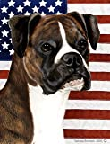 "Boxer Brindle Uncropped by Tamara Burnett Patriotic II House Dog Breed Flag 28"" x 40"" Review"