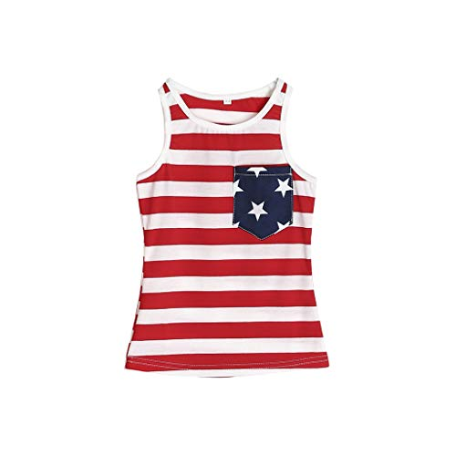 July 14 Mom and Daughter Parent-Child Print Set Casual Star Stripe Decorative Sleeveless Vest Family Matching Outfits Red ()