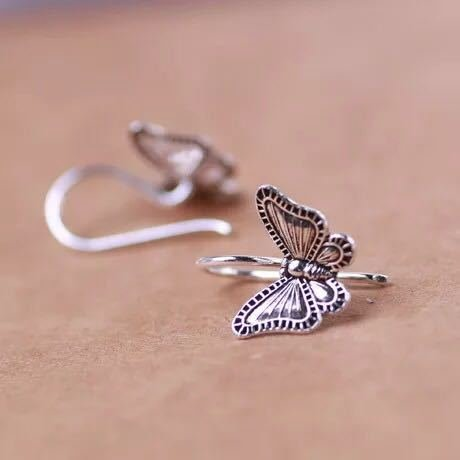 usongs 925 sterling silver earrings Thai style butterfly silver earrings decorated with small ornaments meet unexpectedly by usongs