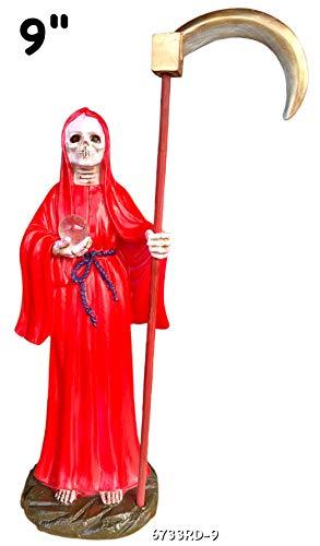 Santa Muerte Red 9 Inch Statue Holy Death Grim Reaper Skull Skeleton