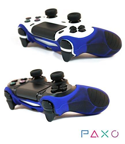 2 x PAXO Silikon Schutzhülle in blau-schwarz / Sleeve + 4 Analog Cups Silikon Aufsätze / Thumb Gribs für PS4 Controller