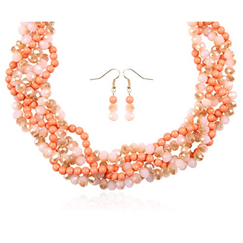 RIAH FASHION Braided Chunky Cluster Bead Bubble Statement Necklace - Multi Strand Twisted Colorful Twisted Ball Hammock Bib Collar Acrylic, Sparkly Crystal (Sparkly Twisted Bauble - Multi Coral) ()