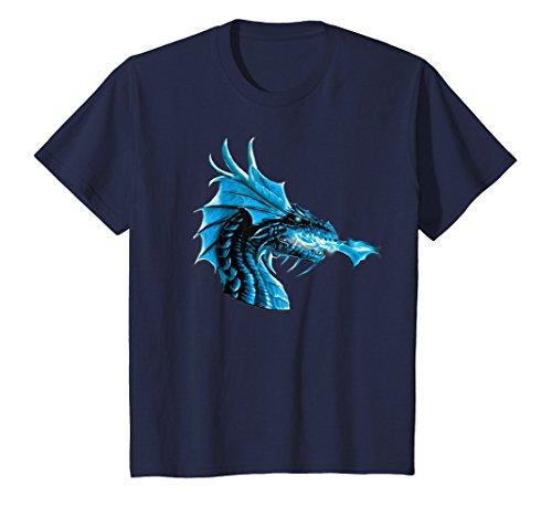 - Kids Blue Ice Flames Crystal Eyes Fantasy Dragon Cool T-Shirt 12 Navy