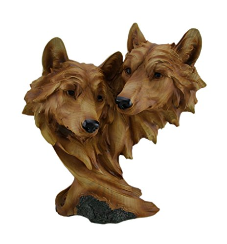 (Zeckos Carved Wood Look Wolf Couple Bust Statue)