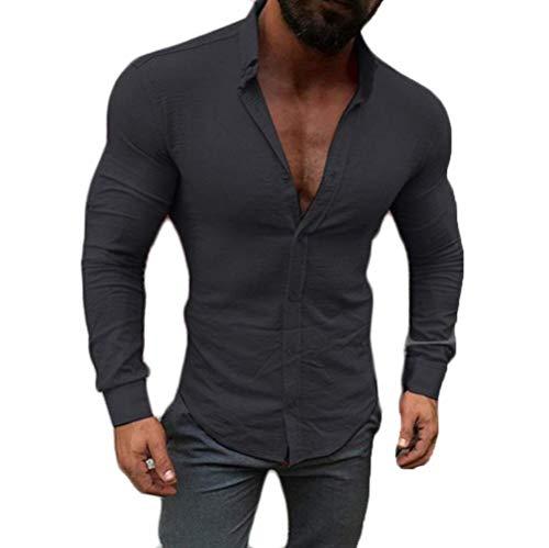 CREAMprice Men Button Down Shirts Long Sleeve Slim Fit Casual Muscle Button Down Dress Shirt