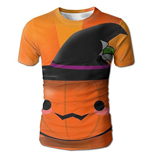 HenSLK Men's Summer Halloween Pumpkin Hat Casual Novelty Crew Neck Short Sleeve T Shirt Gift ()
