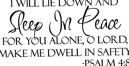 (Waldenn Sleep in Peace Bible Verse Wall Decal Quote Words Lettering Decor Inspiration 36 | Model DCR - 1894)
