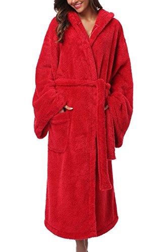 1stmall Fleece Robe, Long Hooded Bathrobe for Women's with Soft Velvet Bathrobe