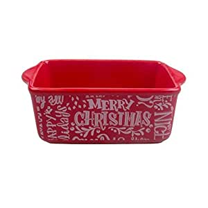 Amazon Com Mini Ceramic Loaf Pan Red Merry Christmas Red