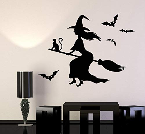 wanghan Witch Magic Cat Besom Vinyl Wall Stickers Halloween Decoration Wall Decals Living Room Waterproof Home Decor -