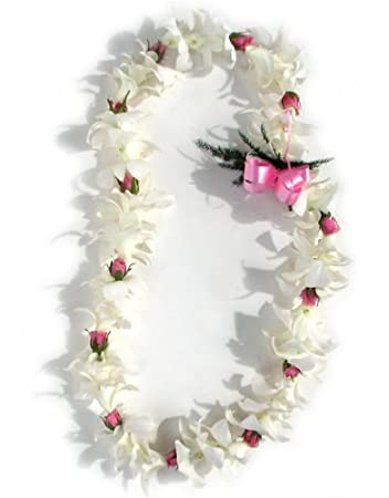 Flower lei single strand white orchid and rose flower lei amazon flower lei single strand white orchid and rose flower lei mightylinksfo Images