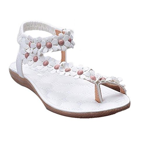 Vovotrade Newest Design Women's Fashion Sweet Summer Bohemia Beaded Sandals Clip Toe Beach Shoes Herringbone (size:37, Blanc)