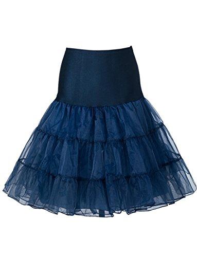 jupe BeiQianE Vintage Bleu demi 1950 noce jupon Tutu Crinoline Underskirt Petticoat pour genou Slips Marin Femmes la xqqUwHfY