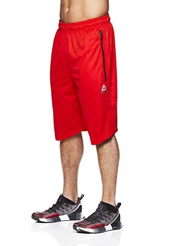 Reebok Men's Mesh Basketball Gym & Running Shorts w/Elastic Drawstring Waistband - Flame Scarlet Stay Tight, - Shorts Basketball Cloth