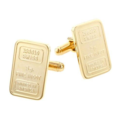 JJ Weston Faux Gold Ingot Cufflinks. Made in the USA