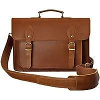 ZLYC Leather Vintage Removable Padded Camera Messenger Shoulder Bag for DSLR Camera and Lens, Brown