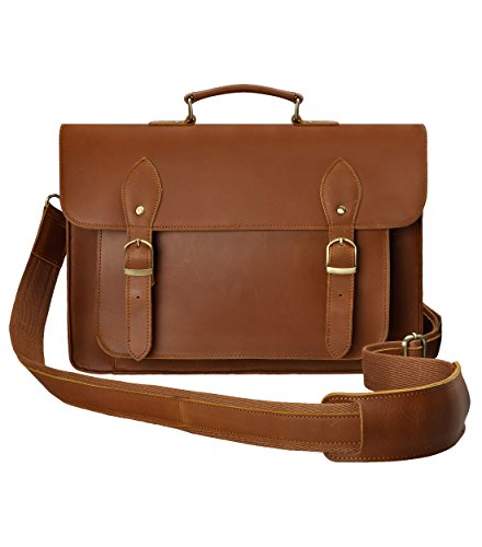 ZLYC Leather Vintage Removable Padded Camera Messenger Shoulder Bag for DSLR Camera and Lens, Brown by ZLYC