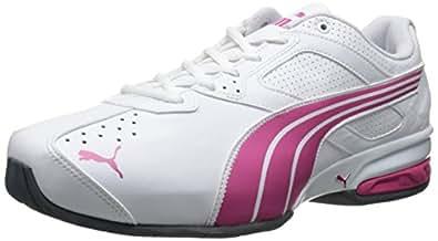PUMA Women's Tazon 5 NM Cross-Training Shoe,White/Fuchsia/Purple,6 B US