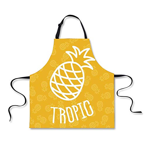 iPrint Cooking Apron,Yellow,Little Tropical Exotic African P