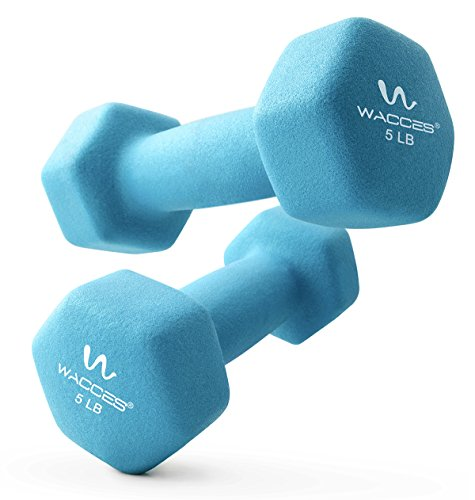 Wacces Neoprene Dipped Coated Set of 2 Dumbbells Hand Weights Sets Non Slip Grip 2 x 5 LB
