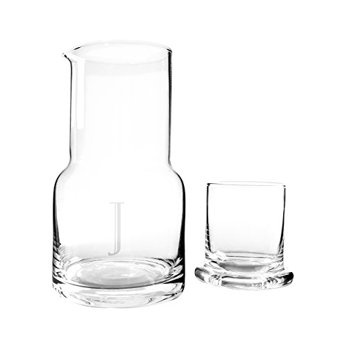 (Cathy's Concepts Personalized Bedside Water Carafe & Glass Set, Letter J )