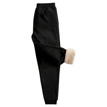 JOYKK Pantalones de chándal Gruesos de Felpa con Forro de Invierno ...