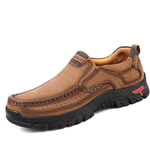 TAIGEL Mens Slip On Loafers Leather Lightweight Casual Walking Shoes Brown