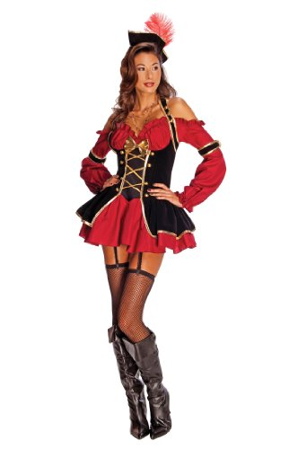 Secret Wishes Womens Pirate Booty Costume, Red/Black, (Awesome Costumes For Women)
