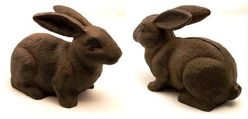 IWGAC 0170S-04669 Cast Iron Rust Bunny Rabbit Door Stop ()