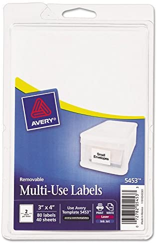 3 x 4 Sold as 1 Carton 80//Pack Print or Write Removable Multi-Use Labels Total 18 PK White