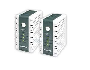 Diamond Multimedia Powerline Internet HDTV AV 200 Mbps Ethernet over Power HomePlug AV Ethernet Adapter Starter Kit (2 Adapters Included) (HP200AV)