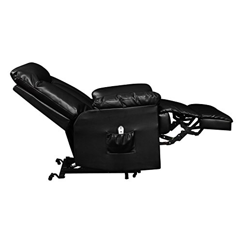 Prolounger Lya Black Renu Leather Power Recline and Lift Wall Hugger Chair