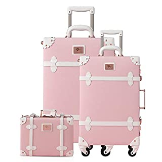 """urecity Womens Cute Pink Vintage Trolley Luggage Set, Trunk Suitcase for Girls, 3-Piece Set (Princess Pink 24"""" + 20"""" + 12"""")"""