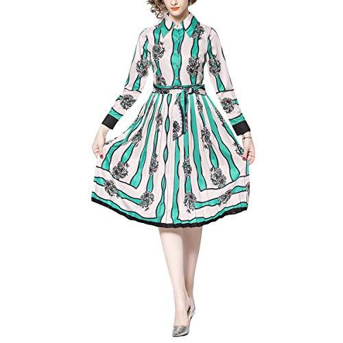 Mujer Vestido Botón Green Swing De Corbata Alta Solapa Cintura Plisado Rayas Vintage Florales g4TWxvUwPq