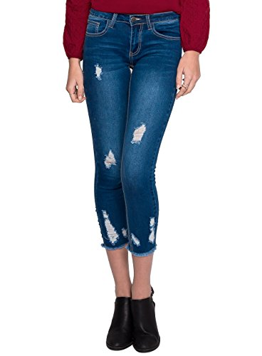 Wet Seal Distressed Skinny Jeans In Blue