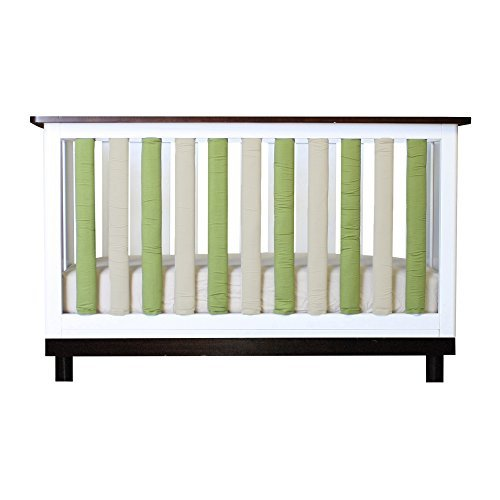 Go Mama Go Pure Safety Vertical Crib Liners in Reversible Cotton, Sage & Khaki, 38 Count by Go Mama Go