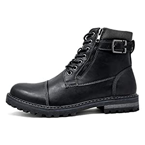 Bruno Marc Men's Engle-05 Black Motorcycle Combat Oxford Boots Size 10 M US